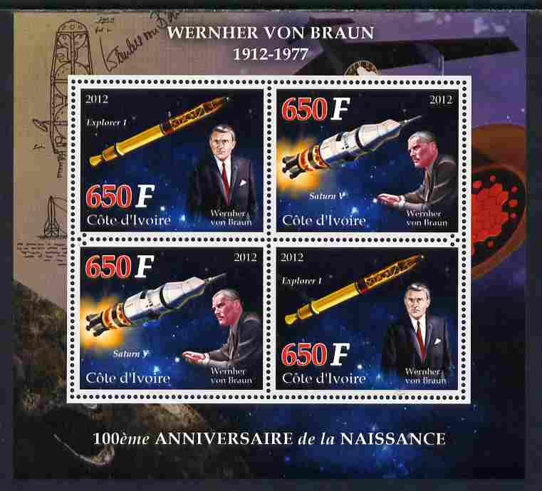 Ivory Coast 2012 100th Birth Anniversary of Wernher van Braun perf sheetlet containing 4 values unmounted mint
