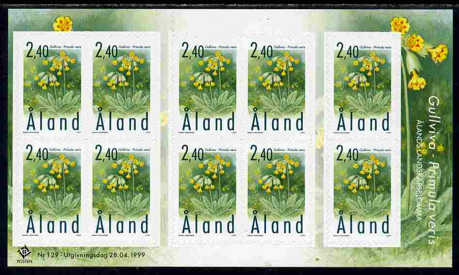 Aland Islands 1999 Provincial Plants perf sheetlet containing 10 x self-adhesive values unmounted mint as SG 152