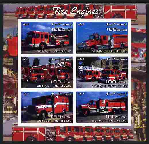 Somalia 2004 Fire Engines imperf sheetlet containing 6 values unmounted mint