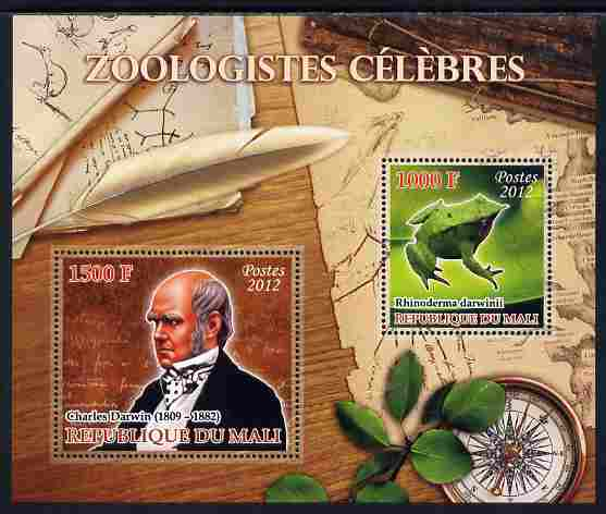 Mali 2012 Zoological Celebrities - Charles Darwin large perf sheetlet containing 2 values unmounted mint