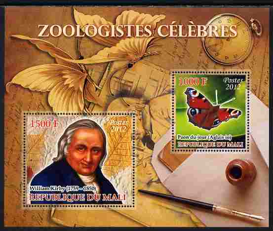 Mali 2012 Zoological Celebrities - William Kirby large perf sheetlet containing 2 values unmounted mint