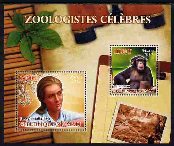 Mali 2012 Zoological Celebrities - Jane Goodall large perf sheetlet containing 2 values unmounted mint