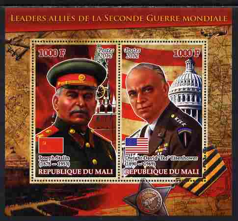 Mali 2012 Allied Leaders of WW2 - Stalin & Eisenhower large perf sheetlet containing 2 values unmounted mint