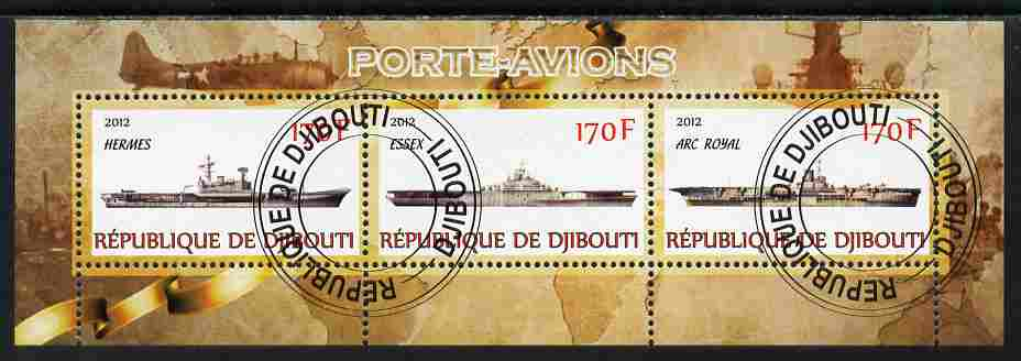 Djibouti 2012 Aircraft Carriers #1 perf sheetlet containing 3 values fine cto used