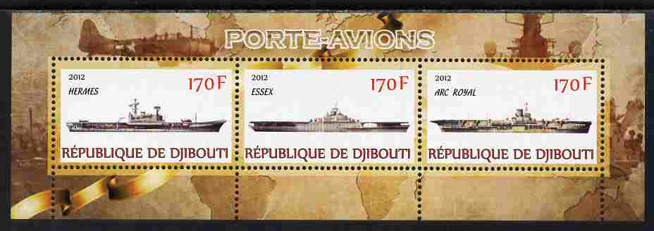 Djibouti 2012 Aircraft Carriers #1 perf sheetlet containing 3 values unmounted mint