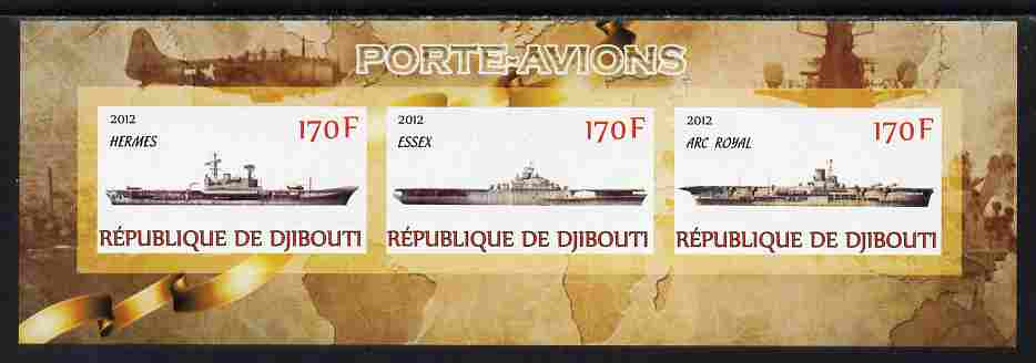 Djibouti 2012 Aircraft Carriers #1 imperf sheetlet containing 3 values unmounted mint