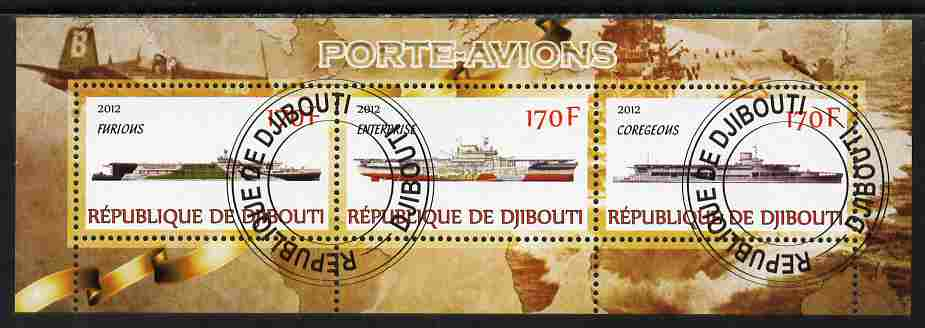 Djibouti 2012 Aircraft Carriers #2 perf sheetlet containing 3 values fine cto used