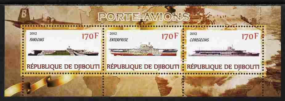 Djibouti 2012 Aircraft Carriers #2 perf sheetlet containing 3 values unmounted mint