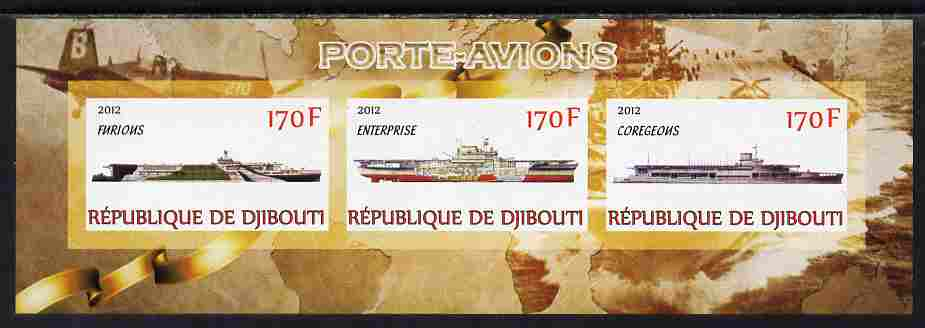 Djibouti 2012 Aircraft Carriers #2 imperf sheetlet containing 3 values unmounted mint