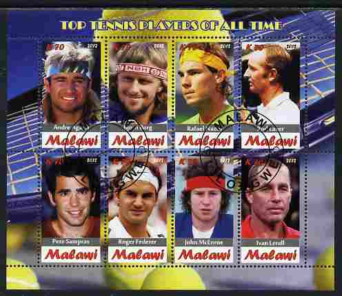 Malawi 2012 Top Tennis Players of All Time perf sheetlet containing 8 values fine cto used