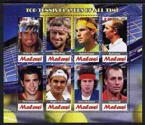 Malawi 2012 Top Tennis Players of All Time perf sheetlet containing 8 values unmounted mint