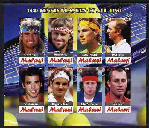 Malawi 2012 Top Tennis Players of All Time imperf sheetlet containing 8 values unmounted mint