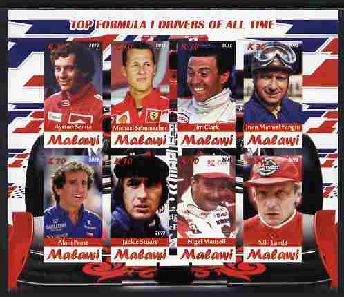 Malawi 2012 Top Formula 1 Drivers of All Time imperf sheetlet containing 8 values unmounted mint