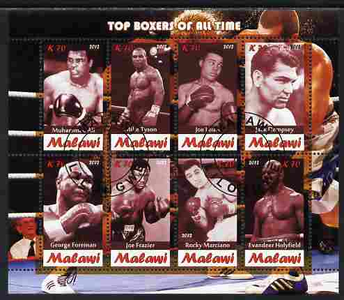 Malawi 2012 Top Boxers of All Time perf sheetlet containing 8 values fine cto used
