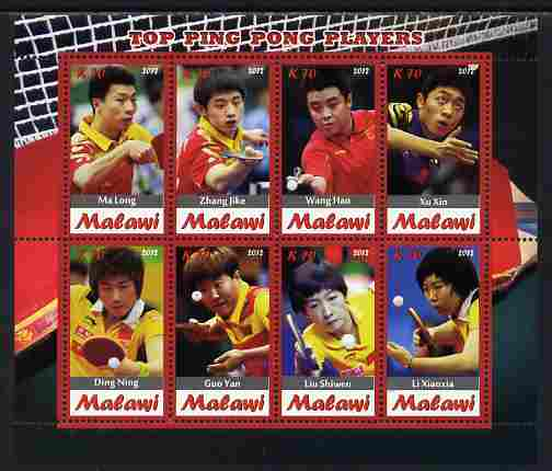 Malawi 2012 Top Table Tennis Players of All Time perf sheetlet containing 8 values unmounted mint