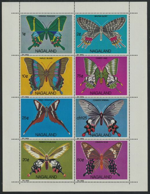 Nagaland 1971 Butterflies (Peacock, Dragontail, Crimson Rose etc) perf  set of 8 values complete unmounted mint