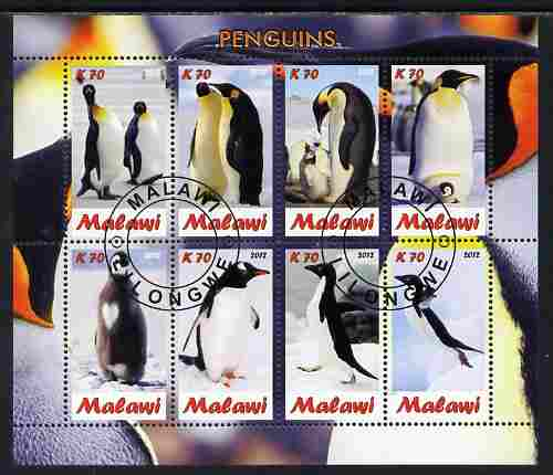 Malawi 2012 Penguins perf sheetlet containing 8 values fine cto used
