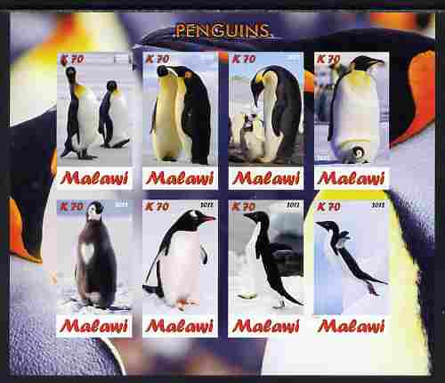 Malawi 2012 Penguins imperf sheetlet containing 8 values unmounted mint