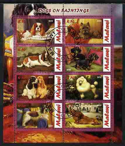 Malawi 2012 Dogs Featured on Paintings perf sheetlet containing 8 values fine cto used