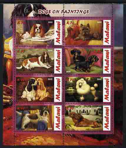 Malawi 2012 Dogs Featured on Paintings perf sheetlet containing 8 values unmounted mint