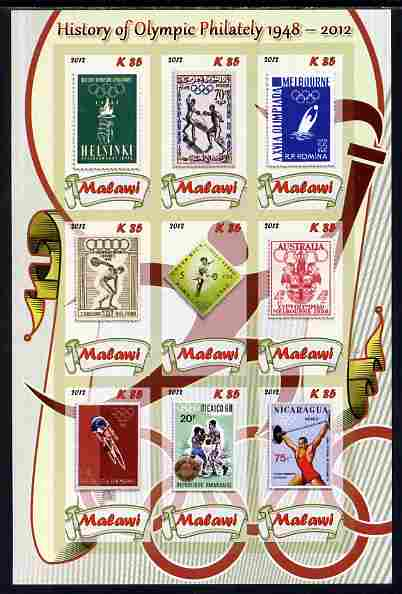 Malawi 2012 History of Olympic Philately #01 imperf sheetlet containing 9 values unmounted mint