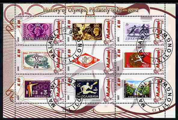 Malawi 2012 History of Olympic Philately #02 perf sheetlet containing 9 values fine cto used