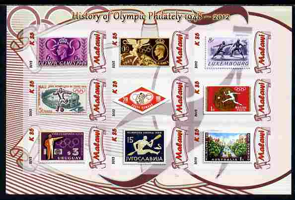 Malawi 2012 History of Olympic Philately #02 imperf sheetlet containing 9 values unmounted mint