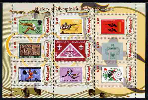 Malawi 2012 History of Olympic Philately #03 perf sheetlet containing 9 values unmounted mint
