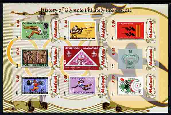 Malawi 2012 History of Olympic Philately #03 imperf sheetlet containing 9 values unmounted mint