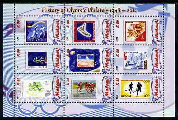 Malawi 2012 History of Olympic Philately #04 perf sheetlet containing 9 values unmounted mint