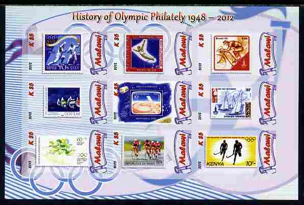 Malawi 2012 History of Olympic Philately #04 imperf sheetlet containing 9 values unmounted mint