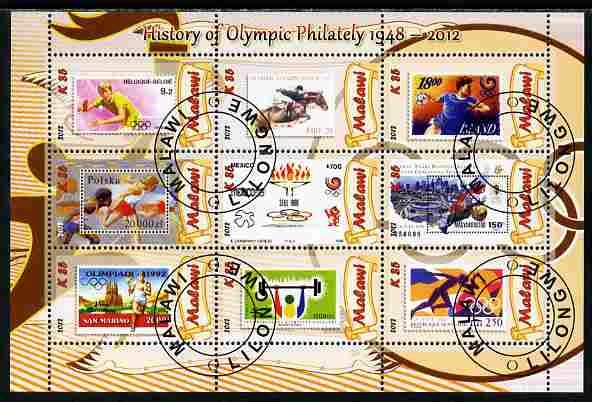 Malawi 2012 History of Olympic Philately #05 perf sheetlet containing 9 values fine cto used