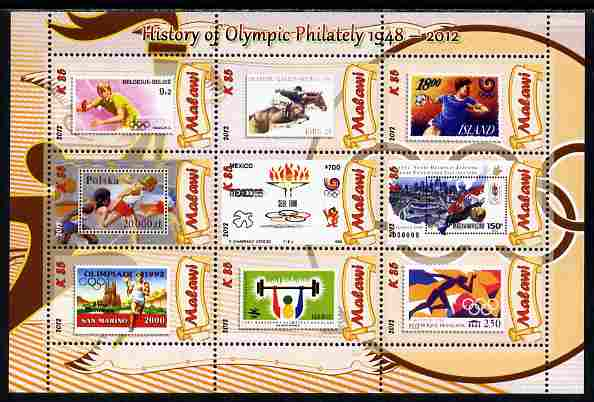 Malawi 2012 History of Olympic Philately #05 perf sheetlet containing 9 values unmounted mint