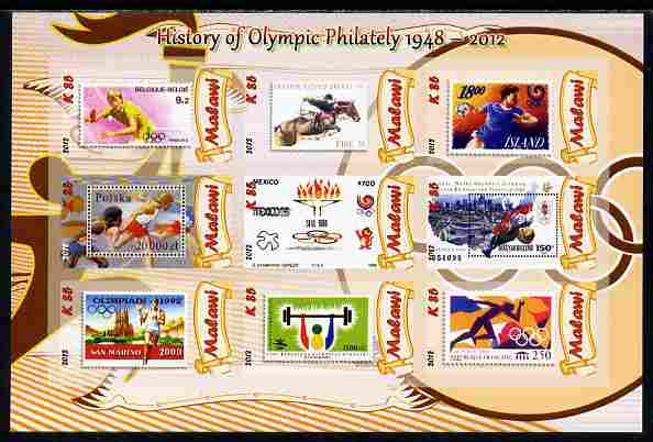 Malawi 2012 History of Olympic Philately #05 imperf sheetlet containing 9 values unmounted mint