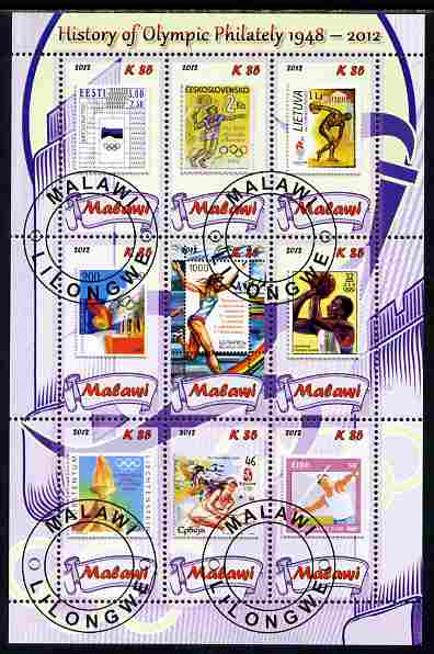 Malawi 2012 History of Olympic Philately #06 perf sheetlet containing 9 values fine cto used