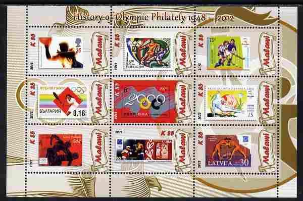 Malawi 2012 History of Olympic Philately #07 perf sheetlet containing 9 values unmounted mint