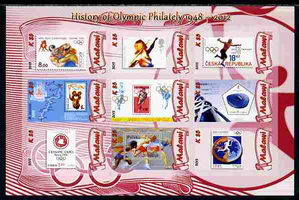 Malawi 2012 History of Olympic Philately #08 imperf sheetlet containing 9 values unmounted mint