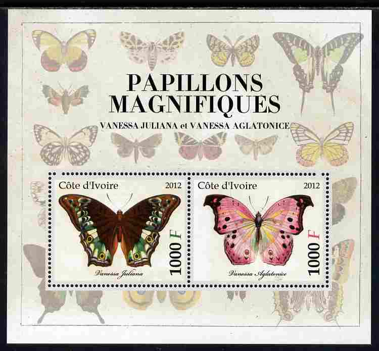 Ivory Coast 2012 Magnificent Butterflies #1 perf sheetlet containing 2 values unmounted mint