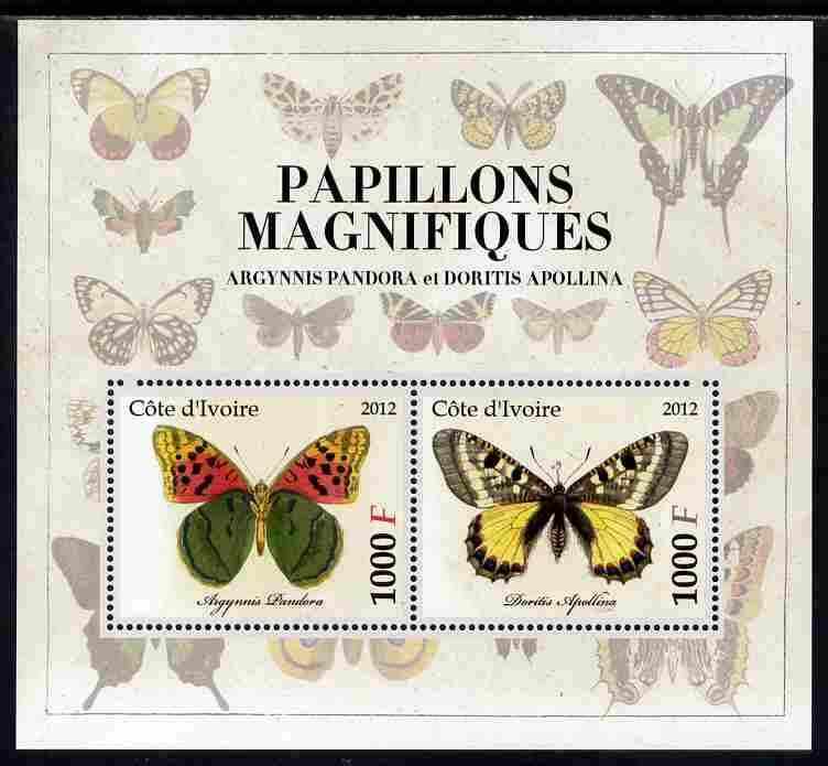 Ivory Coast 2012 Magnificent Butterflies #2 perf sheetlet containing 2 values unmounted mint