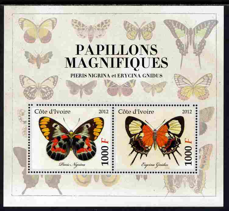 Ivory Coast 2012 Magnificent Butterflies #6 perf sheetlet containing 2 values unmounted mint