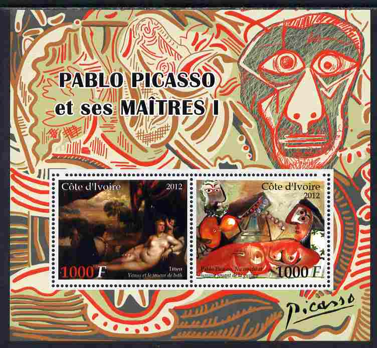 Ivory Coast 2012 Pablo Picasso & his Masters #1 perf sheetlet containing 2 values unmounted mint