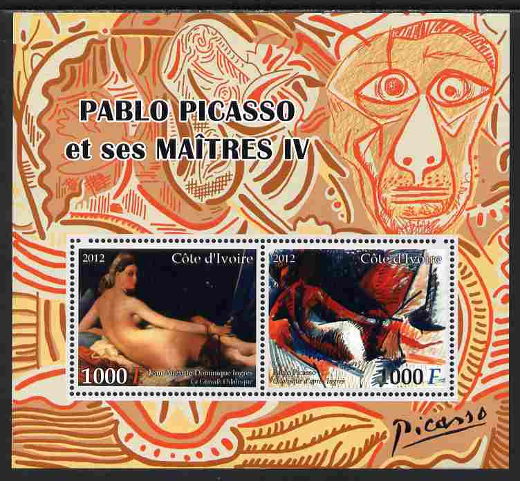 Ivory Coast 2012 Pablo Picasso & his Masters #4 perf sheetlet containing 2 values unmounted mint