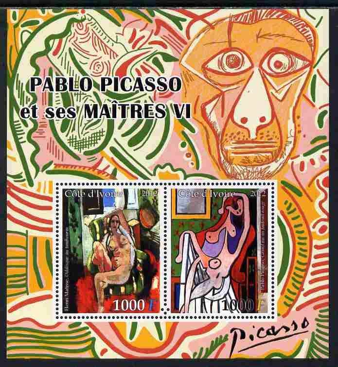 Ivory Coast 2012 Pablo Picasso & his Masters #6 perf sheetlet containing 2 values unmounted mint, stamps on arts, stamps on picasso, stamps on matisse, stamps on nudes