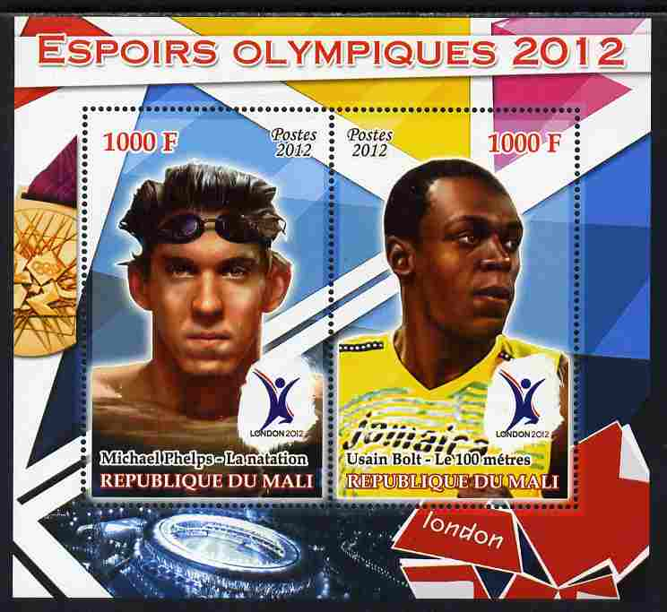 Mali 2012 Olympic Hopefuls #2 perf sheetlet containing 2 values unmounted mint