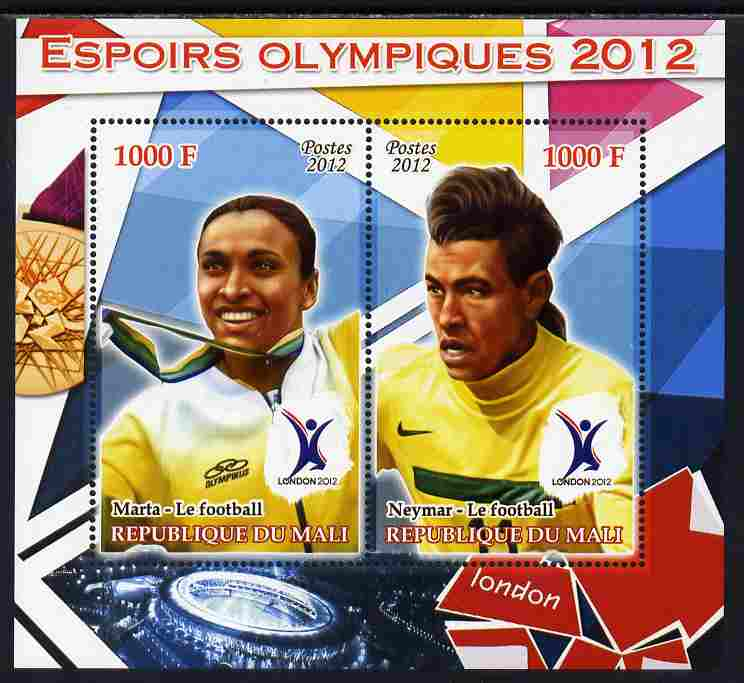 Mali 2012 Olympic Hopefuls #3 perf sheetlet containing 2 values unmounted mint