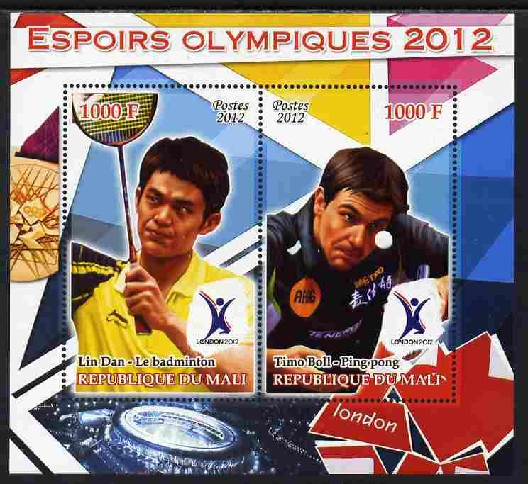 Mali 2012 Olympic Hopefuls #4 perf sheetlet containing 2 values unmounted mint