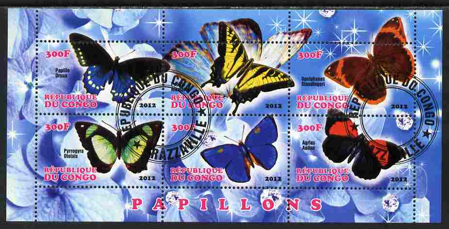 Congo 2012 Butterflies #1 perf sheetlet containing 6 values fine cto used