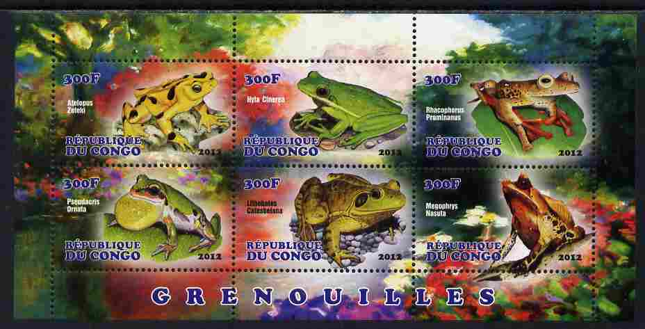Congo 2012 Frogs perf sheetlet containing 6 values unmounted mint