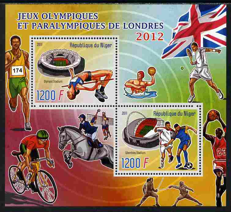 Niger Republic 2012 London Olympic Games perf sheetlet containing 2 values unmounted mint
