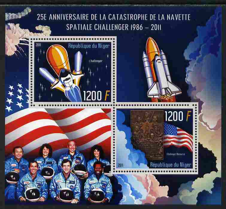 Niger Republic 2012 25th Anniversary of Challenger Disaster perf sheetlet containing 2 values unmounted mint